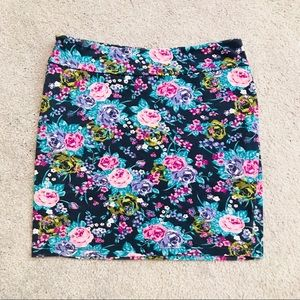 PURPLE&BLUE FLORAL PENCIL SKIRT
